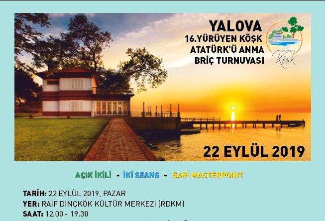2019 Yalova Yürüyen Köşk Atatürk'ü Anma Briç Turnuvası